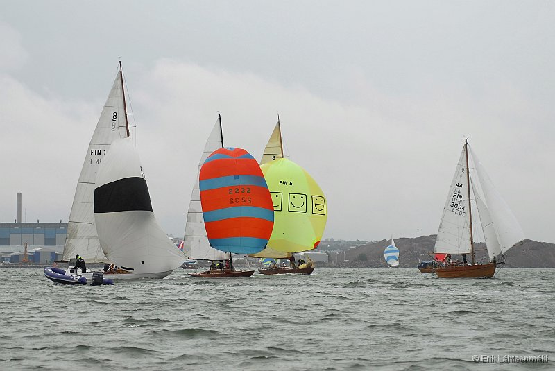 Some pictures from the biggest race for wooden yachts in rainy and foggy weather outside of Helsinki.