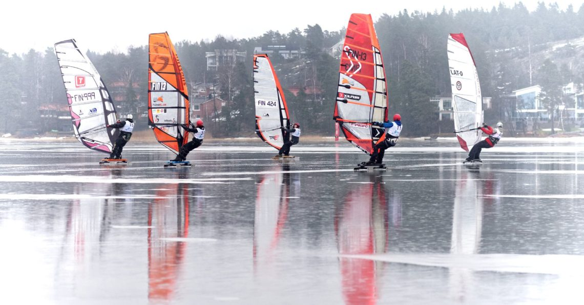 Winter Windsurfing Finnish Nationals and European Championship, sailed in Espoo at Soukanlahti. The weather was not the best possible, but at least there was ice and wind, which is the minimum requirement for racing. Results are available at the Event Facebook page.